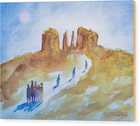 Seekers At Cathedral Rock Wood Print