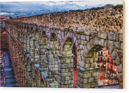 Segovia Aqueduct Spain By Diana Sainz Wood Print