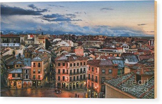 Segovia Nights In Spain By Diana Sainz Wood Print