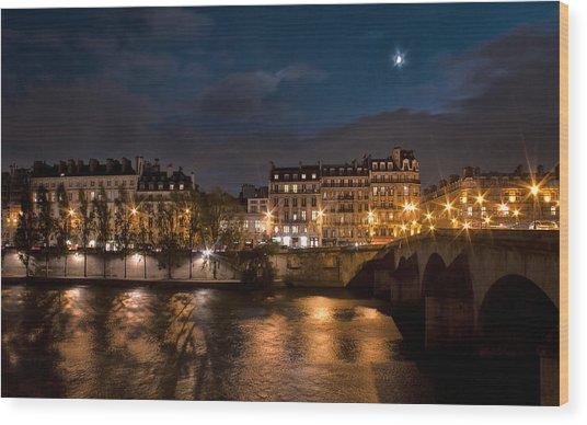 Seine River At Night Wood Print