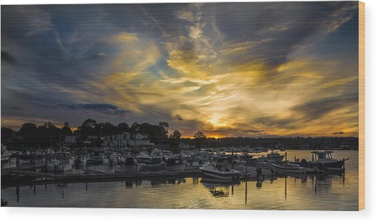 Selective Color Sunset - Mystic River Wood Print