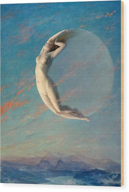 Wood Print featuring the painting Selene by Albert Aublet