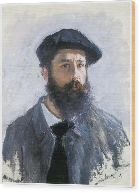 Self-portrait Wood Print by Claude Monet