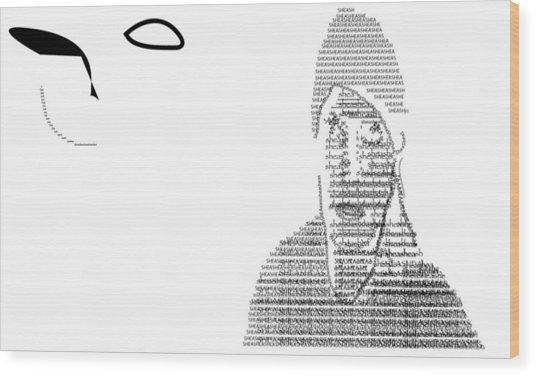 Self Portrait In Text Wood Print