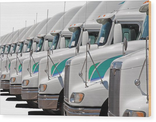 Semi Truck Fleet Wood Print