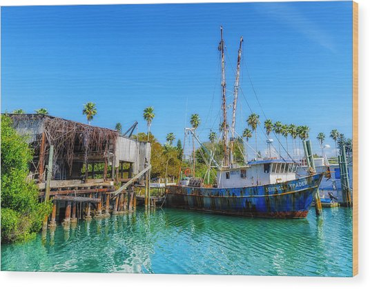 Seminole Trader Shrimp Fishing Boat Wood Print