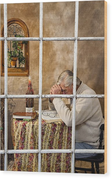 Senior Male Praying Wood Print