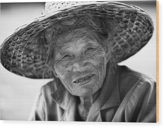 Senior Vendor Thai Woman Wood Print
