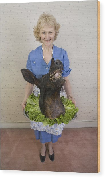Senior Woman Holding Wild Boars Head, Portrait, High Angle View Wood Print by Sheer Photo, Inc