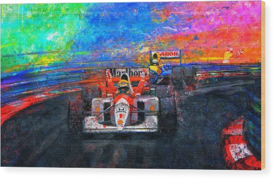 Senna For The Win Wood Print