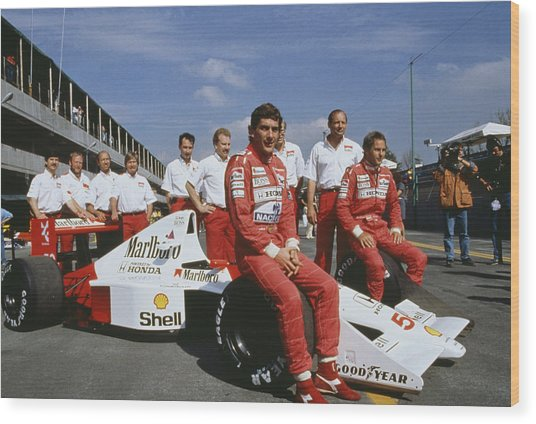 Senna With Mclaren Team Wood Print by Getty Images