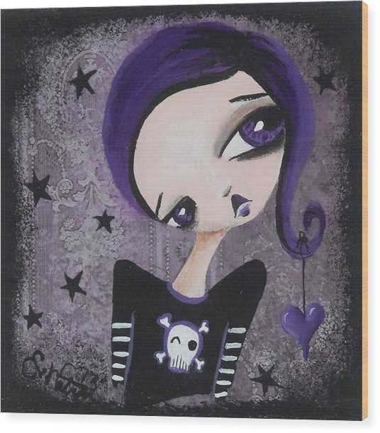 Sentimentally Deranged - Black Star Wood Print