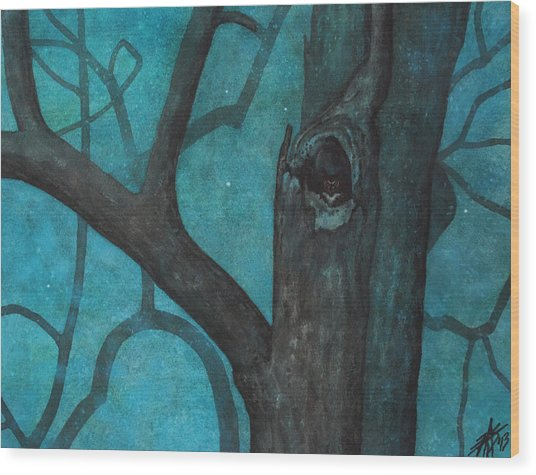 Sentinel Or Great Horned Owl In Cottonwood Tree Wood Print
