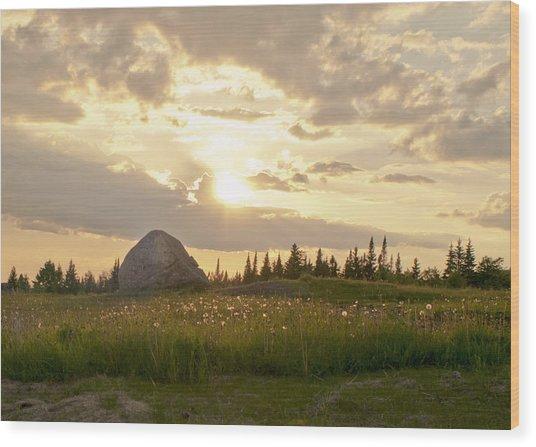 Sentinel Rock Sunset Wood Print