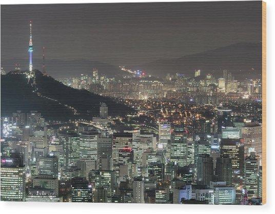 Seoul City Skyline At Night Overview Wood Print by Steffen Schnur