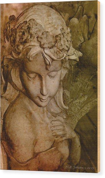 Sepia Angel Wood Print