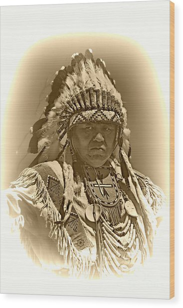 Sepia Chief Wood Print by Scarlett Images Photography