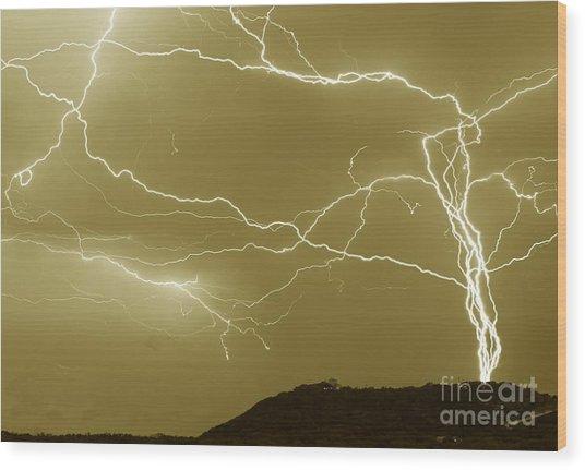 Sepia Converging Lightning Wood Print