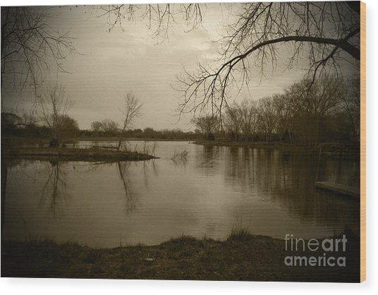 Sepia Lake Wood Print