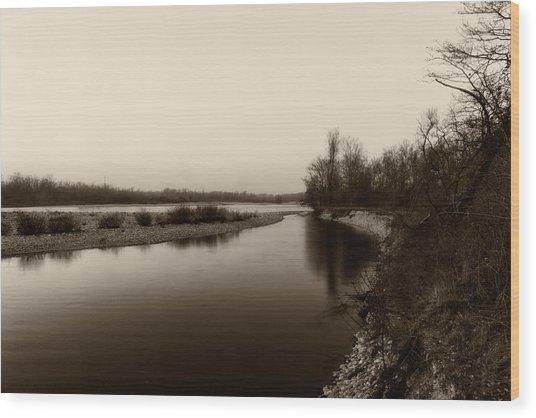 Sepia River Wood Print