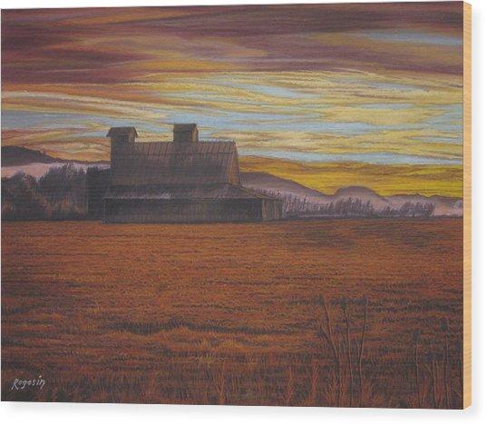 Sepia Sunset Wood Print