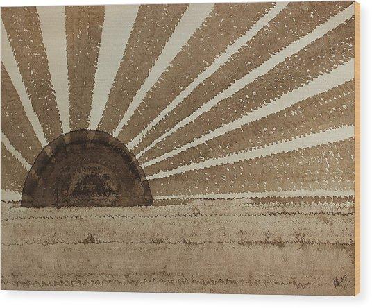 Sepia Sunset Original Painting Wood Print