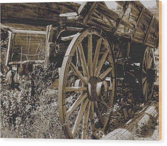 Sepia Wagon Wood Print