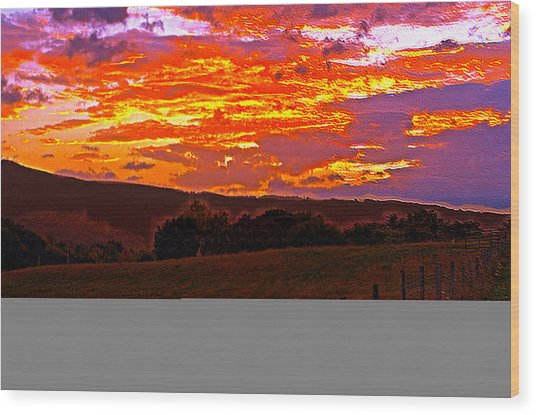 September Smokies Sunrise Wood Print