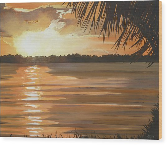September Sunset 7 32pm Haulover Park Wood Print by Lori Royce