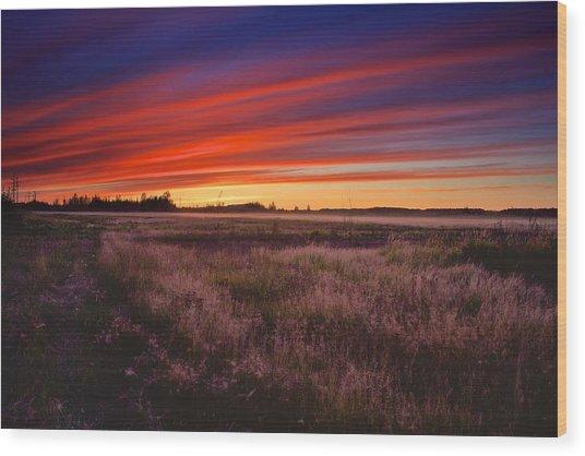 September Sunset North Pole Alaska Wood Print