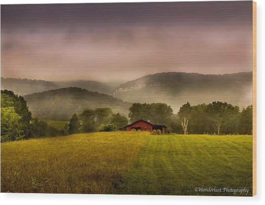 Sequatchie Vally Red Barn Wood Print by Paul Herrmann