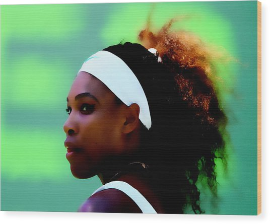 Serena Williams Match Point Wood Print