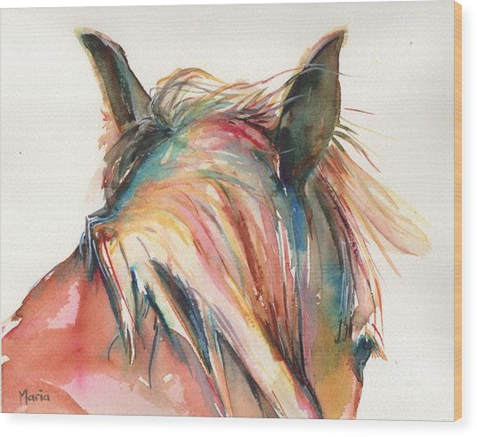 Horse Painting In Watercolor Serendipity Wood Print