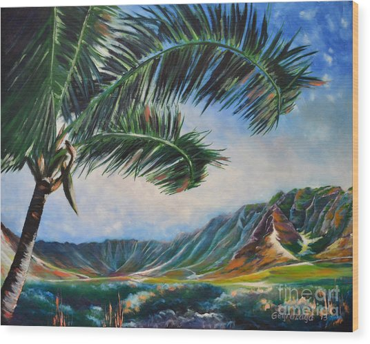 Serene Beauty Of Makua Valley Wood Print