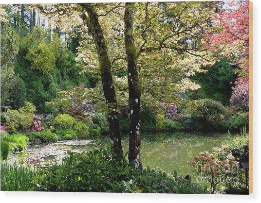 Serene Garden Retreat Wood Print