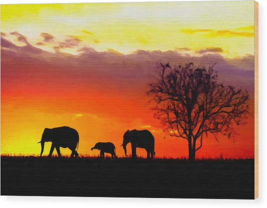Serengeti Silhouette Wood Print