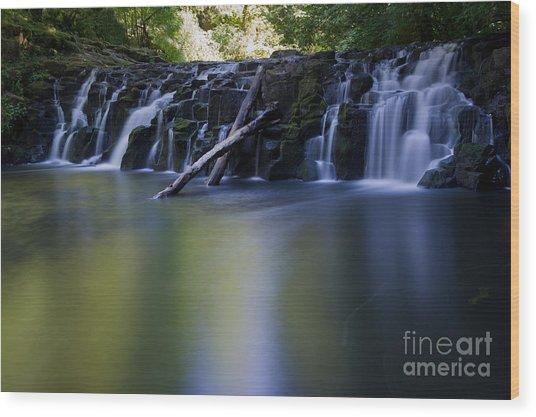 Serenity Falls Wood Print by Jackie Follett