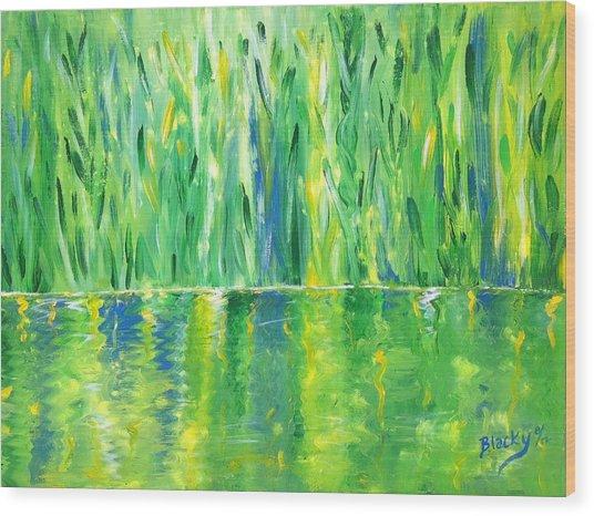 Serenity In Green Wood Print