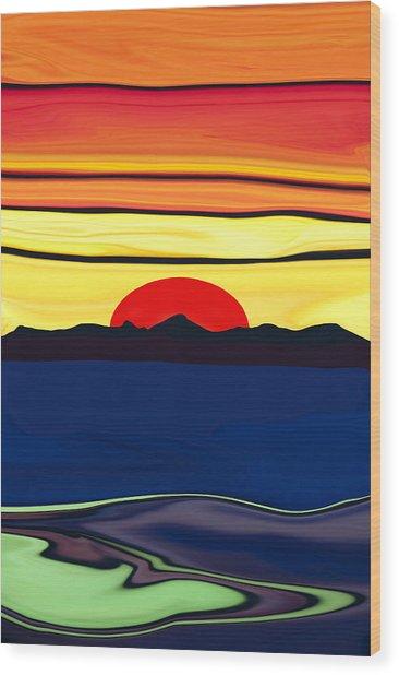 Serenity Lake Sunset Wood Print