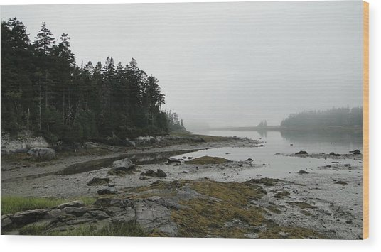Serenity On A Foggy Afternoon In Maine Wood Print