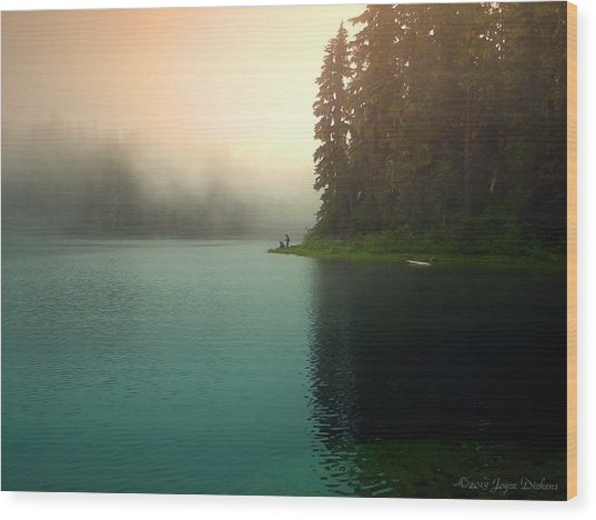 Serenity On Blue Lake Foggy Afternoon Wood Print