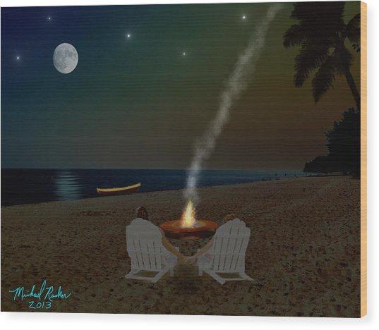 Serenity On The Beach Wood Print