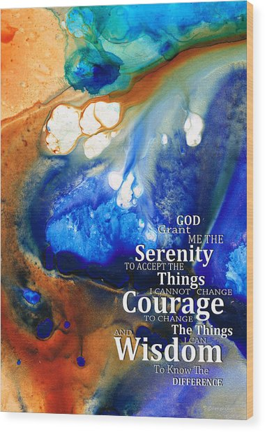Serenity Prayer 4 - By Sharon Cummings Wood Print