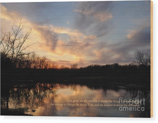 Serenity Prayer Quote Wood Print