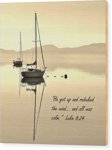 Serenity Scripture Inspirational Quote Wood Print