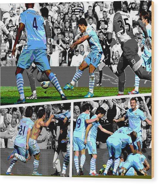 Sergio Aguero Goal Vs Qpr Wood Print