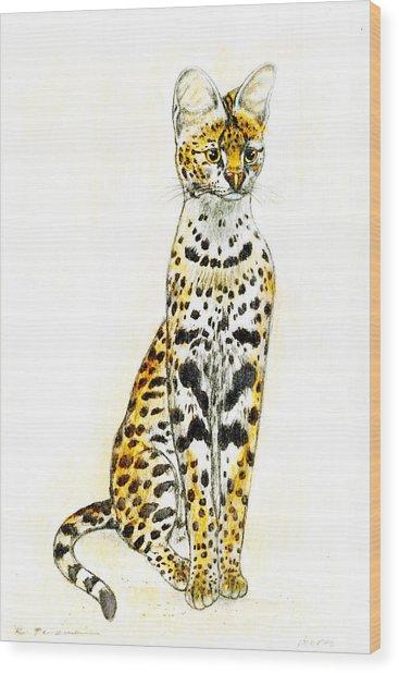 Serval Wood Print by Kurt Tessmann