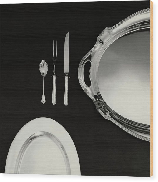 Serving Dishes And Utensils Wood Print