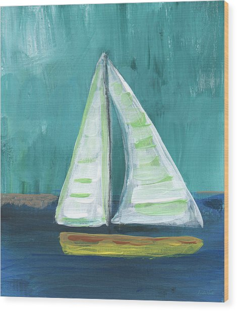 Set Free- Sailboat Painting Wood Print