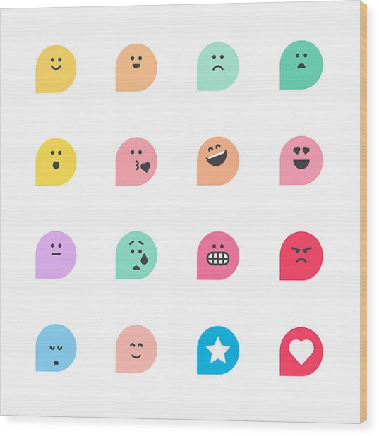 Set Of Basic Emoticons Reactions Wood Print by Calvindexter